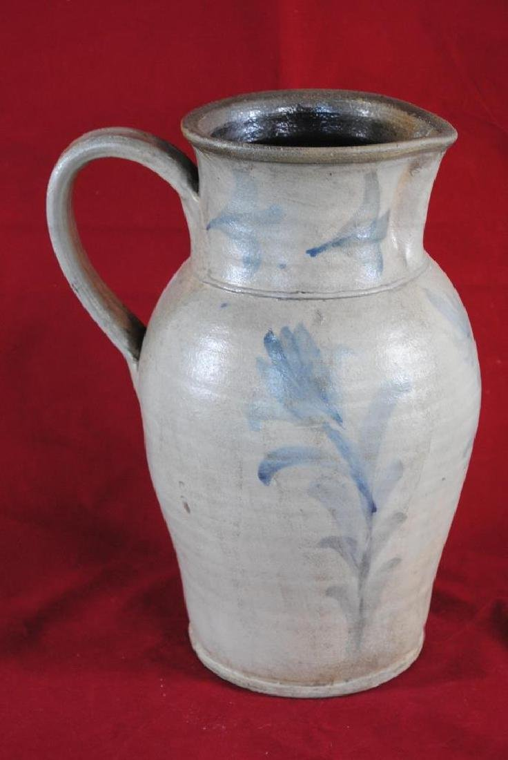 Cobalt Decorated Salt Glazed Pitcher - 5