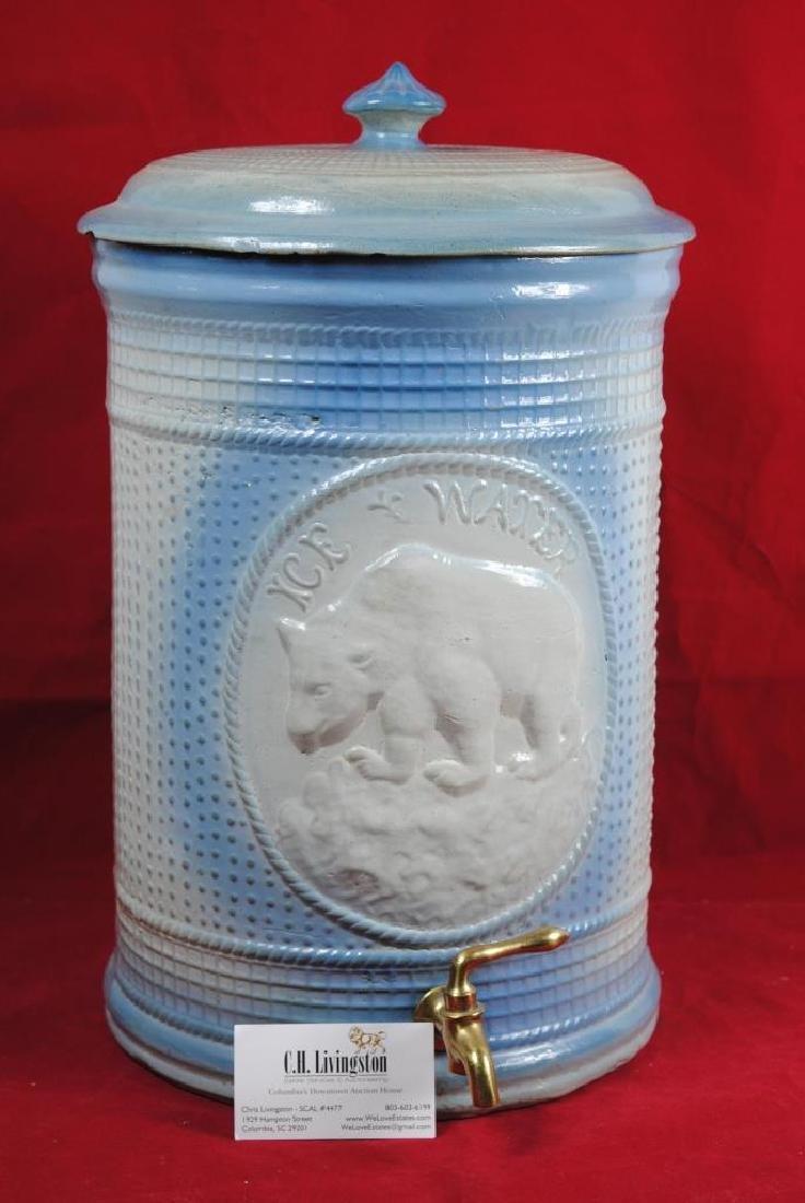 Stoneware Ice Water Cooler w/ Polar Bear - 10