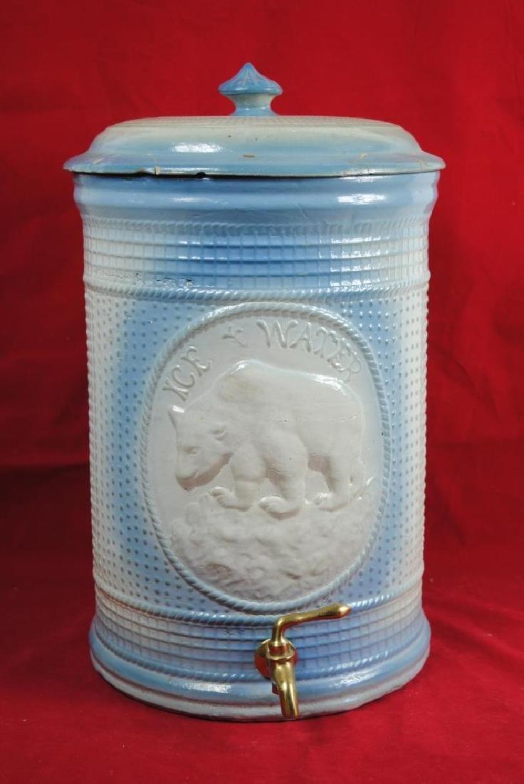 Stoneware Ice Water Cooler w/ Polar Bear
