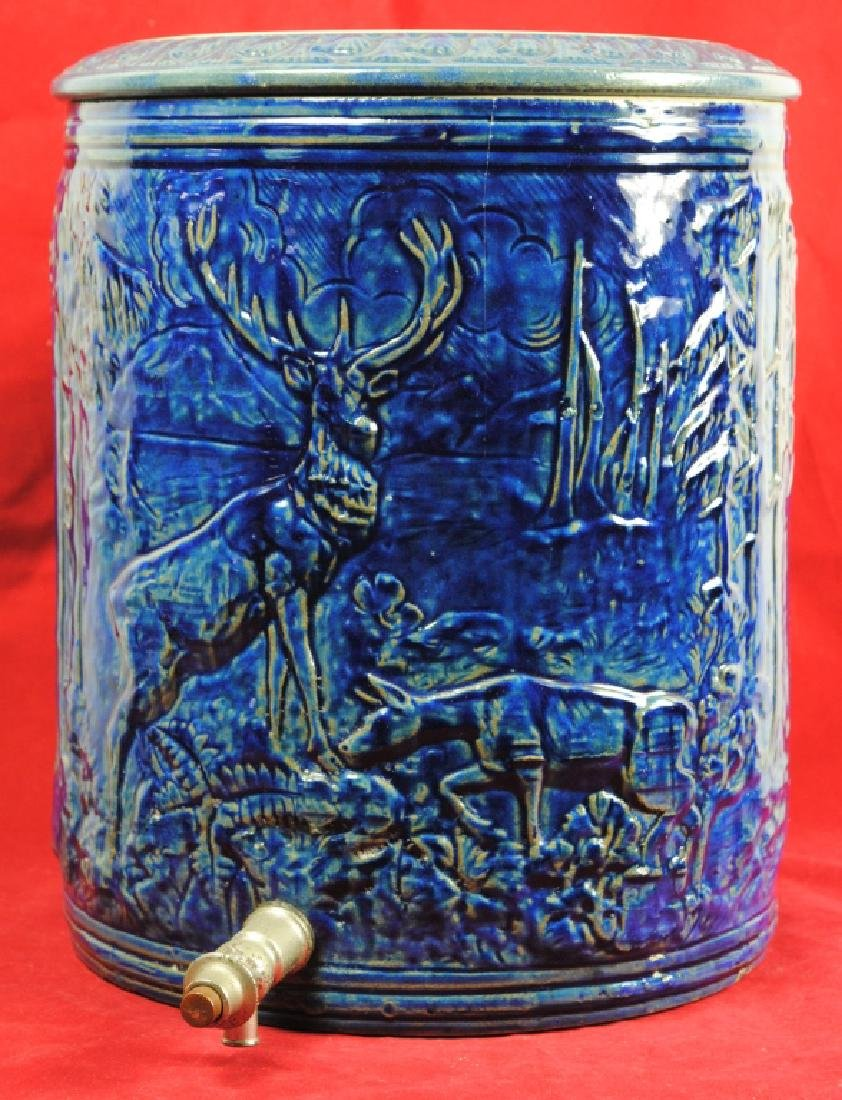 Blue Glazed Water Cooler w/ Stag