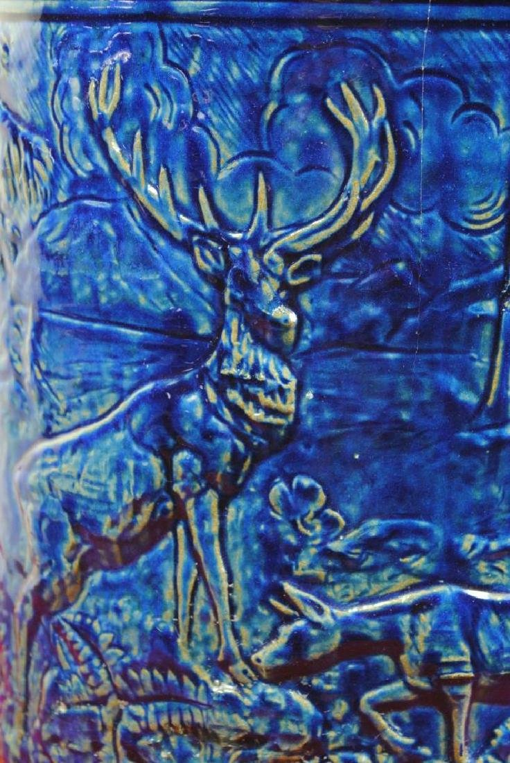 Blue Glazed Water Cooler w/ Stag - 3