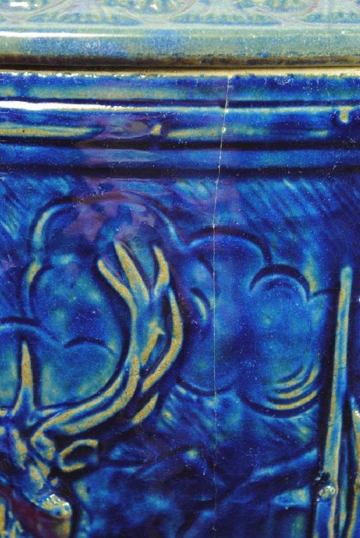 Blue Glazed Water Cooler w/ Stag - 4