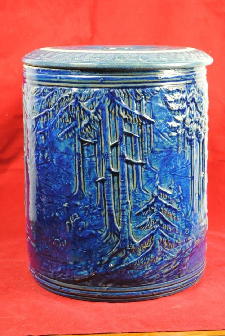 Blue Glazed Water Cooler w/ Stag - 9
