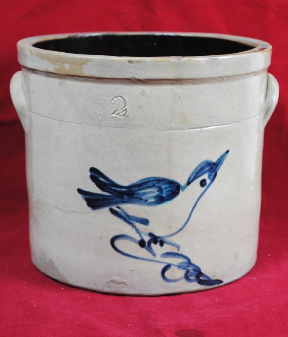 Two-Gallon Salt Glazed Crock w/ Bird on Branch