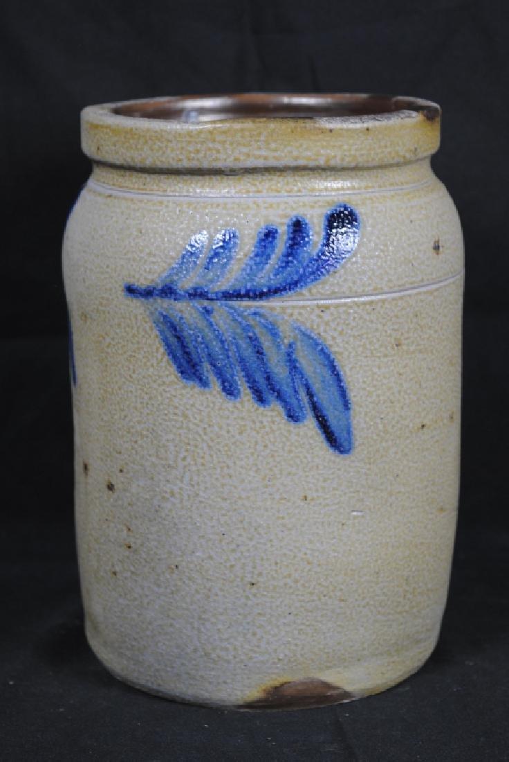 Salt Glazed Storage Jar w/ Cobalt Feathers