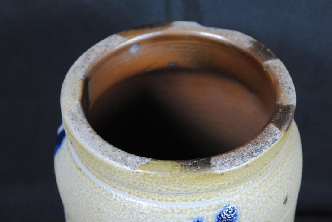 Salt Glazed Storage Jar w/ Cobalt Feathers - 2