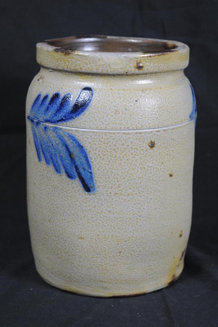 Salt Glazed Storage Jar w/ Cobalt Feathers - 3