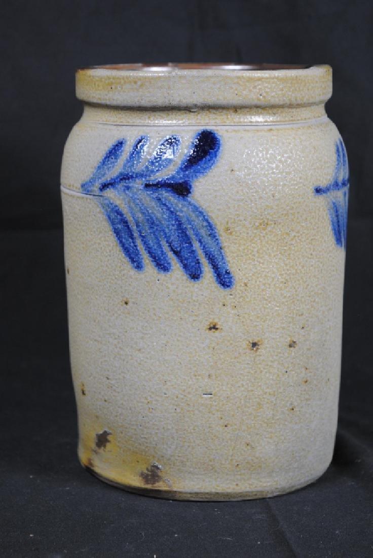 Salt Glazed Storage Jar w/ Cobalt Feathers - 4