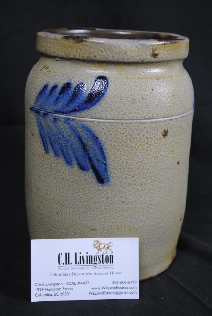 Salt Glazed Storage Jar w/ Cobalt Feathers - 6