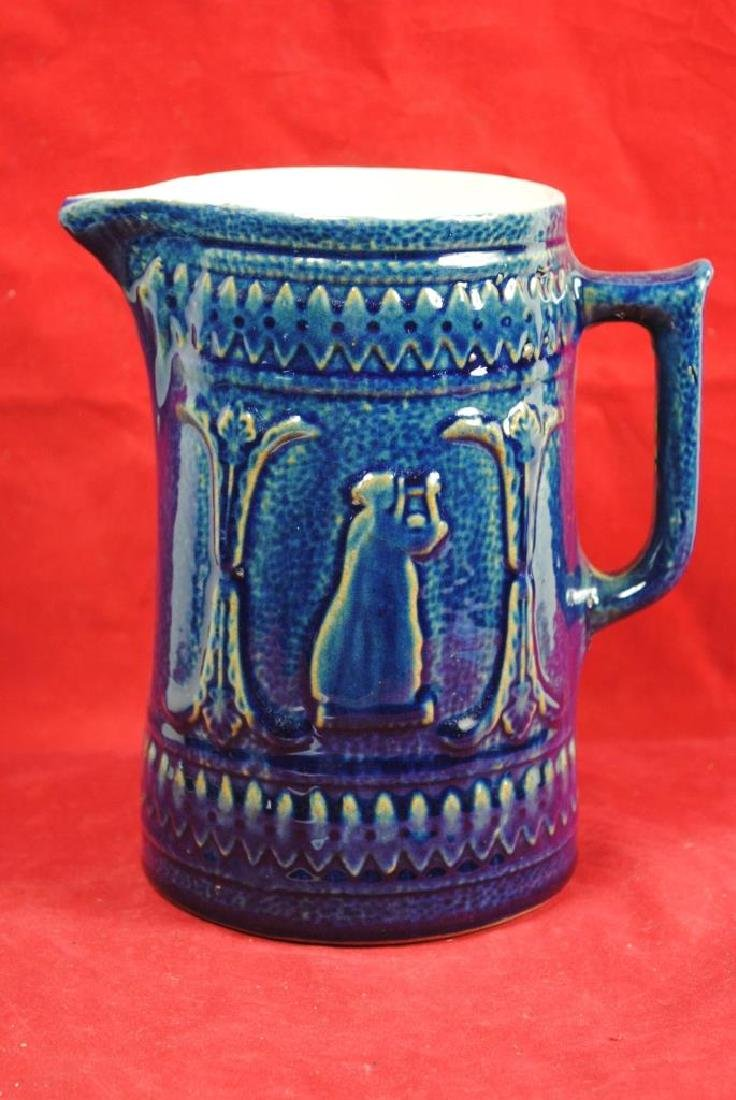 Blue Glaze Stoneware Pitcher