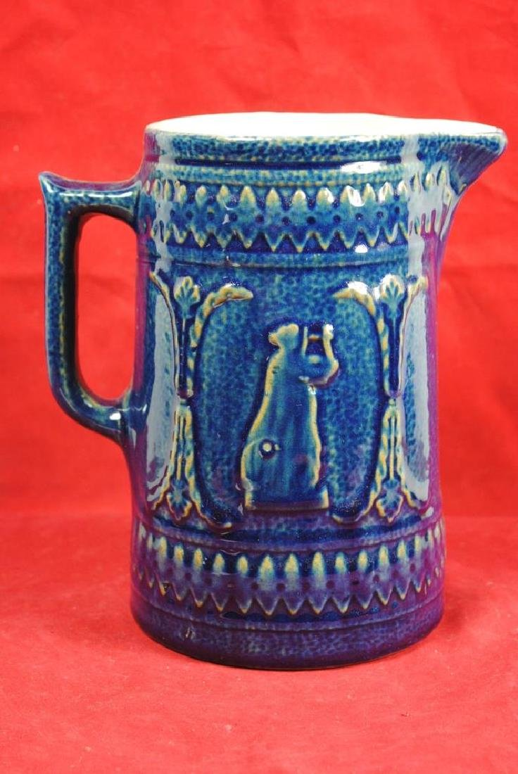 Blue Glaze Stoneware Pitcher - 2