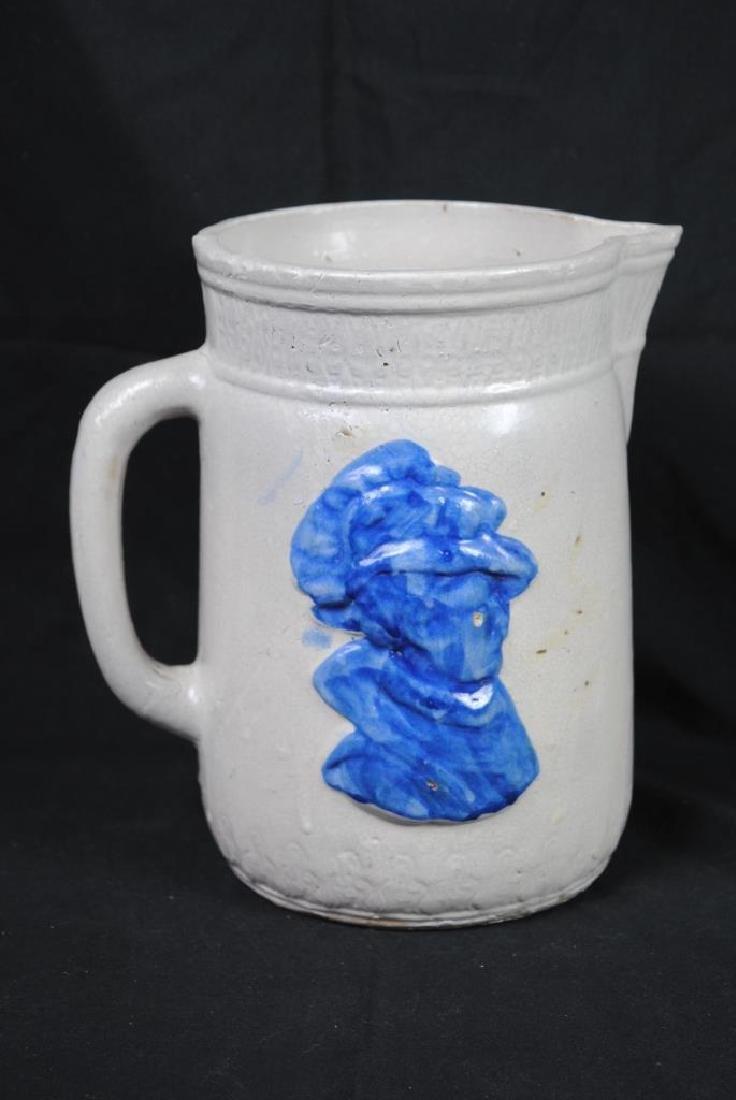 Salt Glazed Pitcher w/ Cobalt Decoration