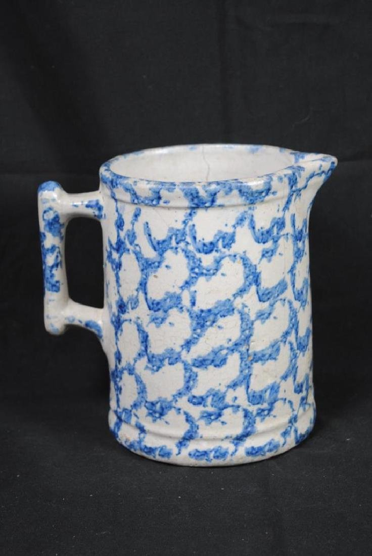 A Salt Glazed Spongeware Pitcher