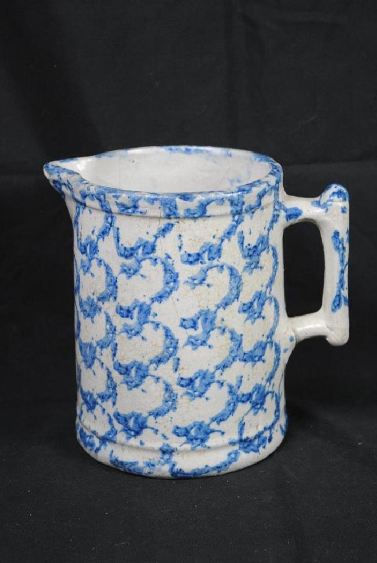 A Salt Glazed Spongeware Pitcher - 3