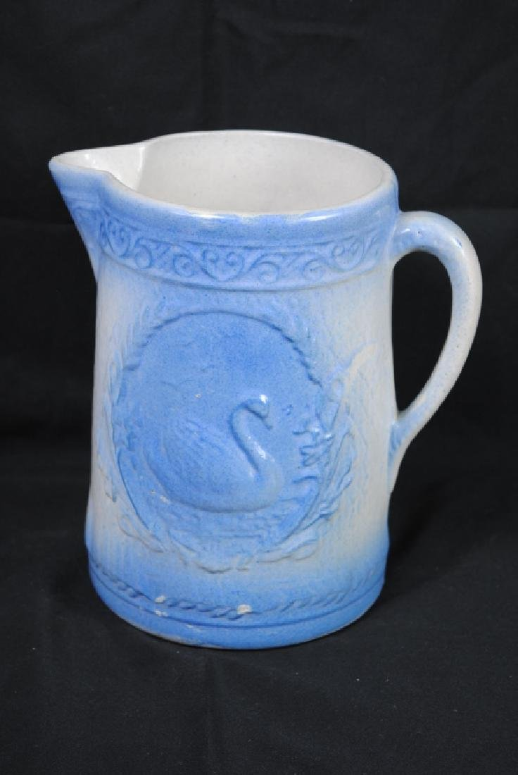 Salt Glazed Pitcher w/ Swan Decoration - 3