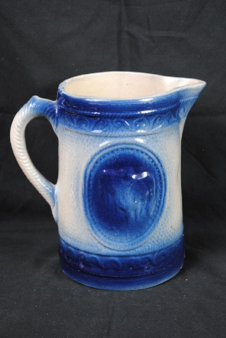 Blue & White Stoneware Pitcher