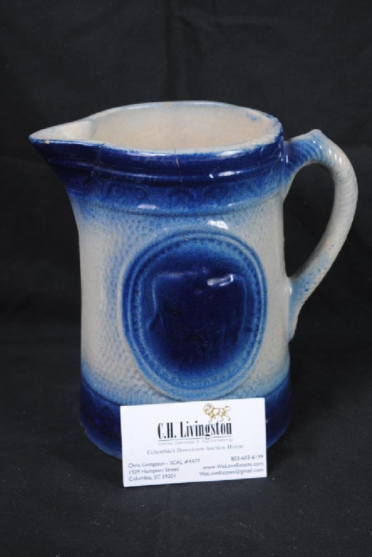 Blue & White Stoneware Pitcher - 8