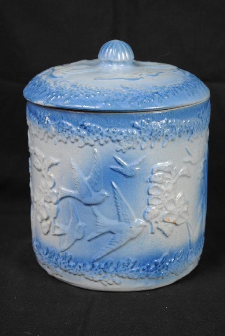 Hull Stoneware Container w/ Flying Bird Decoration