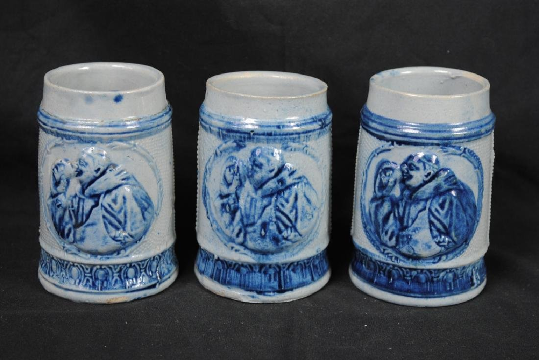 Three Salt Glazed Mugs w/ Friar Decoration