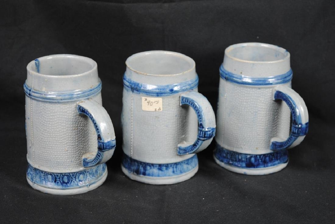 Three Salt Glazed Mugs w/ Friar Decoration - 2