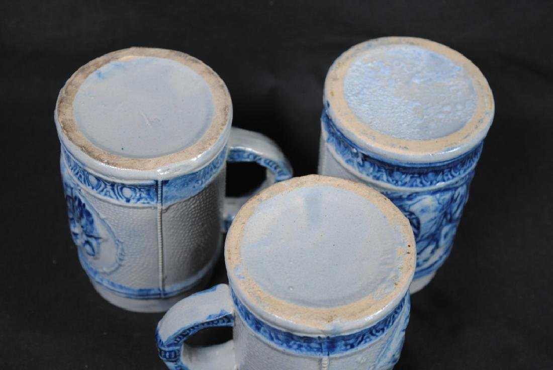 Three Salt Glazed Mugs w/ Friar Decoration - 3
