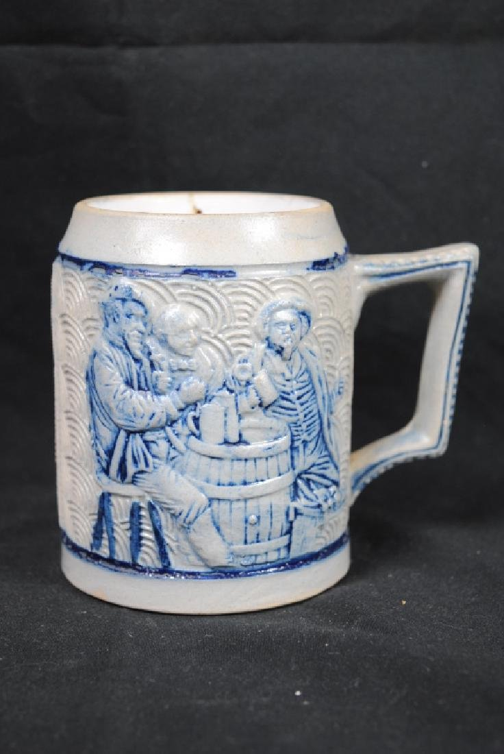 Stoneware Mug W/ Tavern Scene & Buffalo Decoration
