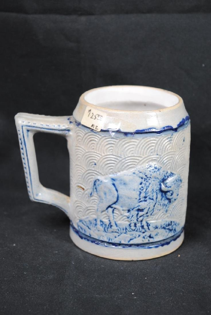 Stoneware Mug W/ Tavern Scene & Buffalo Decoration - 3
