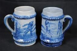 Two Salt Glazed Mugs w/ Golf Decoration