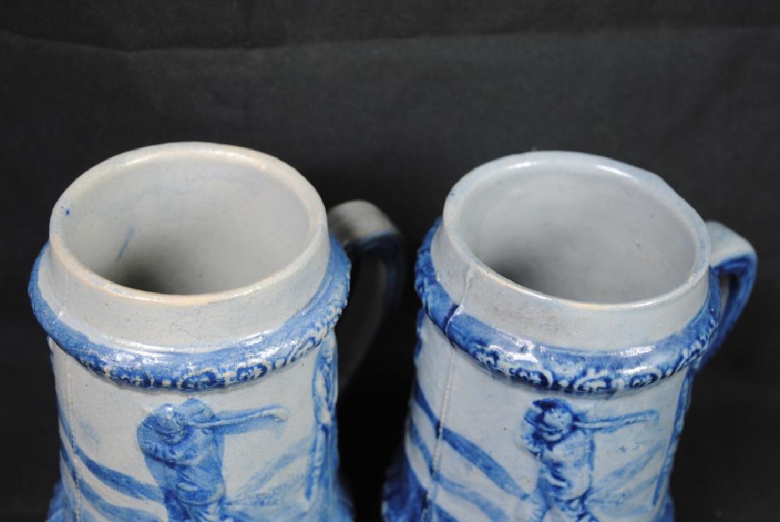 Two Salt Glazed Mugs w/ Golf Decoration - 2
