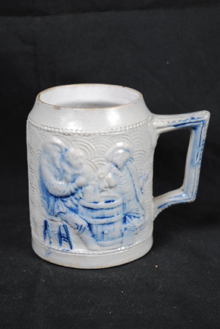 Stoneware Mug w/ A Tavern Scene & Buffalo Decoration