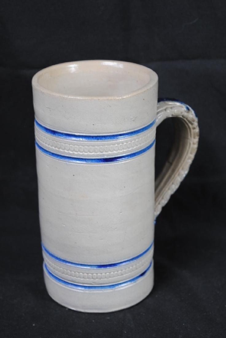 John Wygand NY, Salt Glazed Mug w/ Blue Stripe