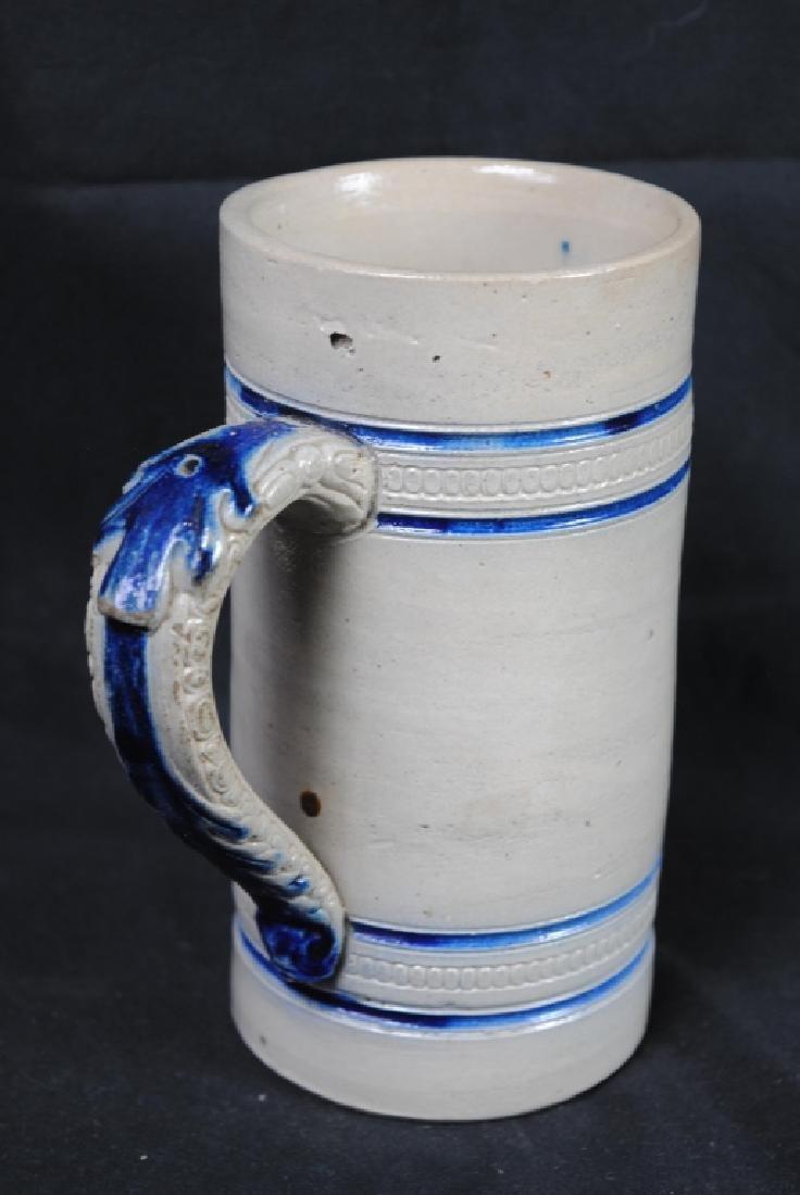 John Wygand NY, Salt Glazed Mug w/ Blue Stripe - 2