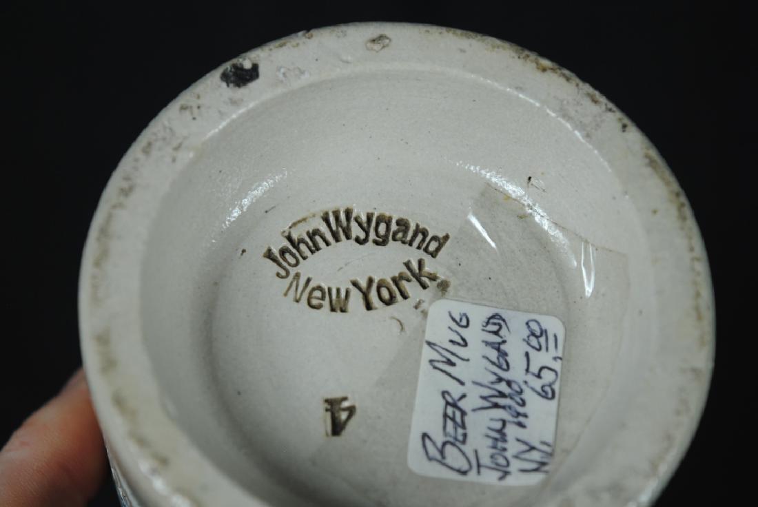 John Wygand NY, Salt Glazed Mug w/ Blue Stripe - 3