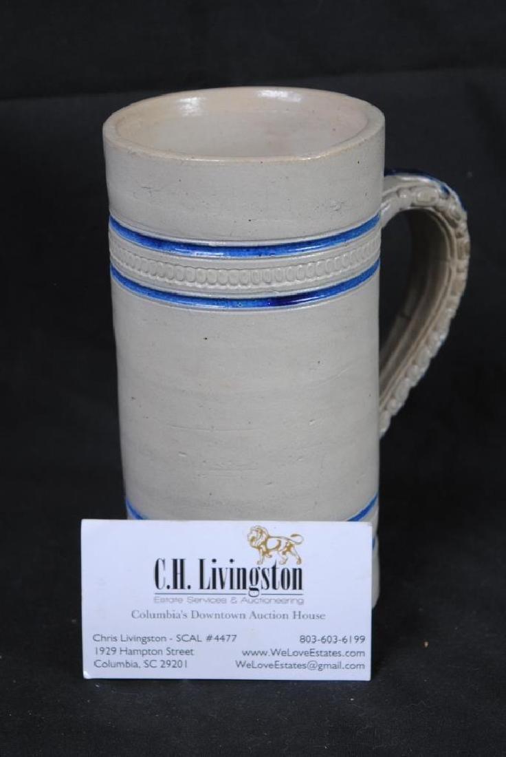 John Wygand NY, Salt Glazed Mug w/ Blue Stripe - 4