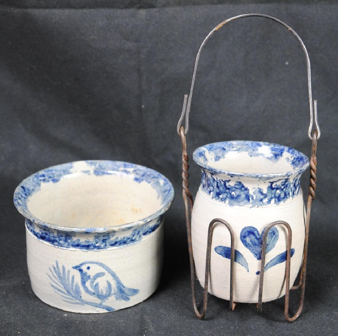 Two Pieces of Cobalt Decorated Pottery