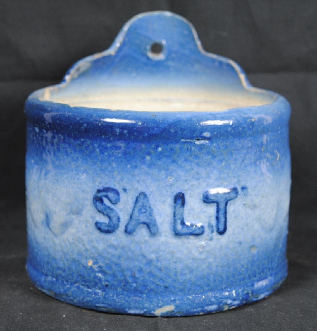Blue & White Salt Glazed Salt Crock