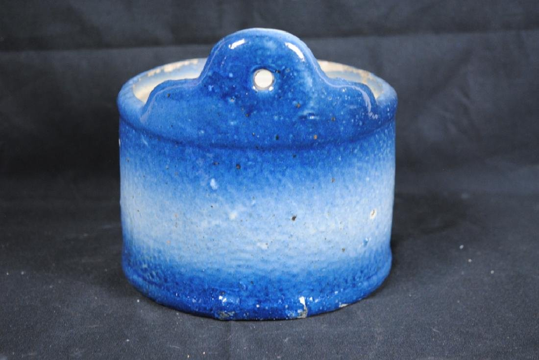 Blue & White Salt Glazed Salt Crock - 4