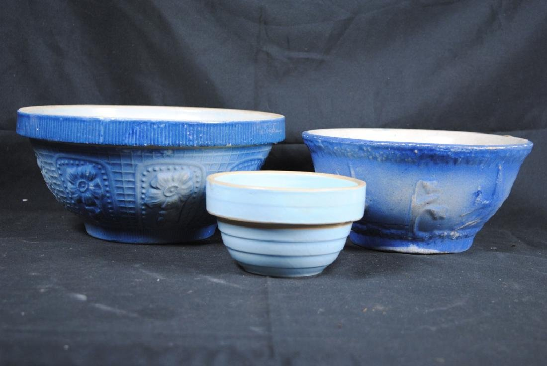 3 Salt Glazed Stoneware Mixing Bowls