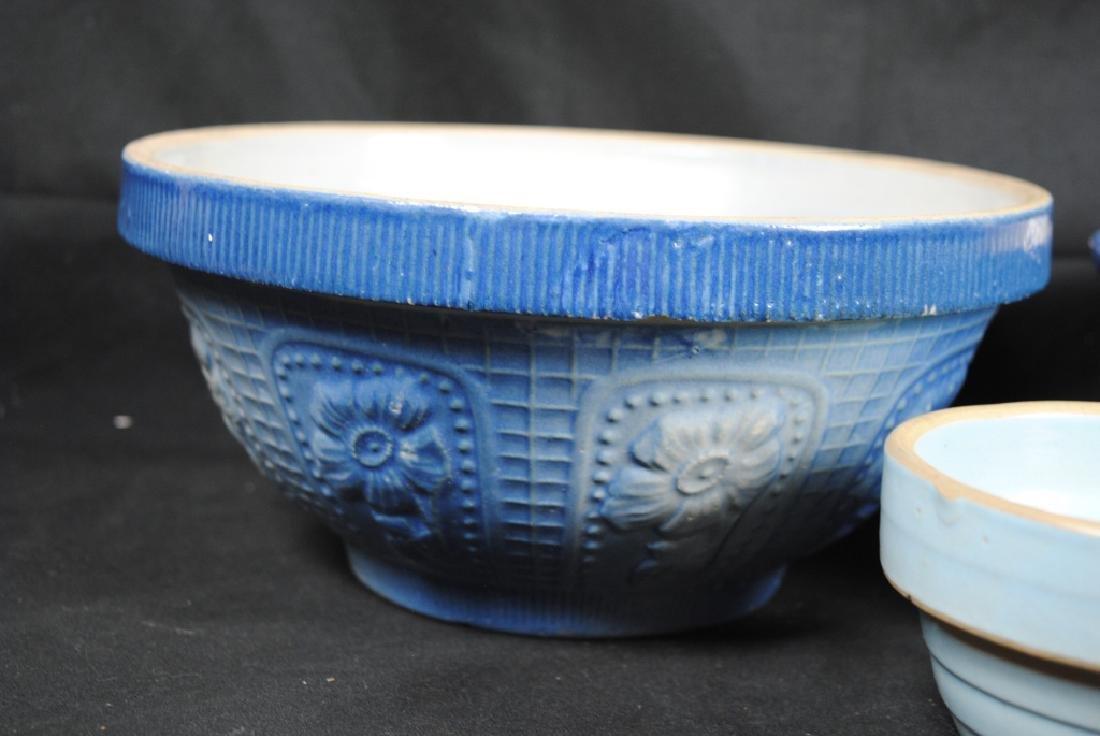 3 Salt Glazed Stoneware Mixing Bowls - 4