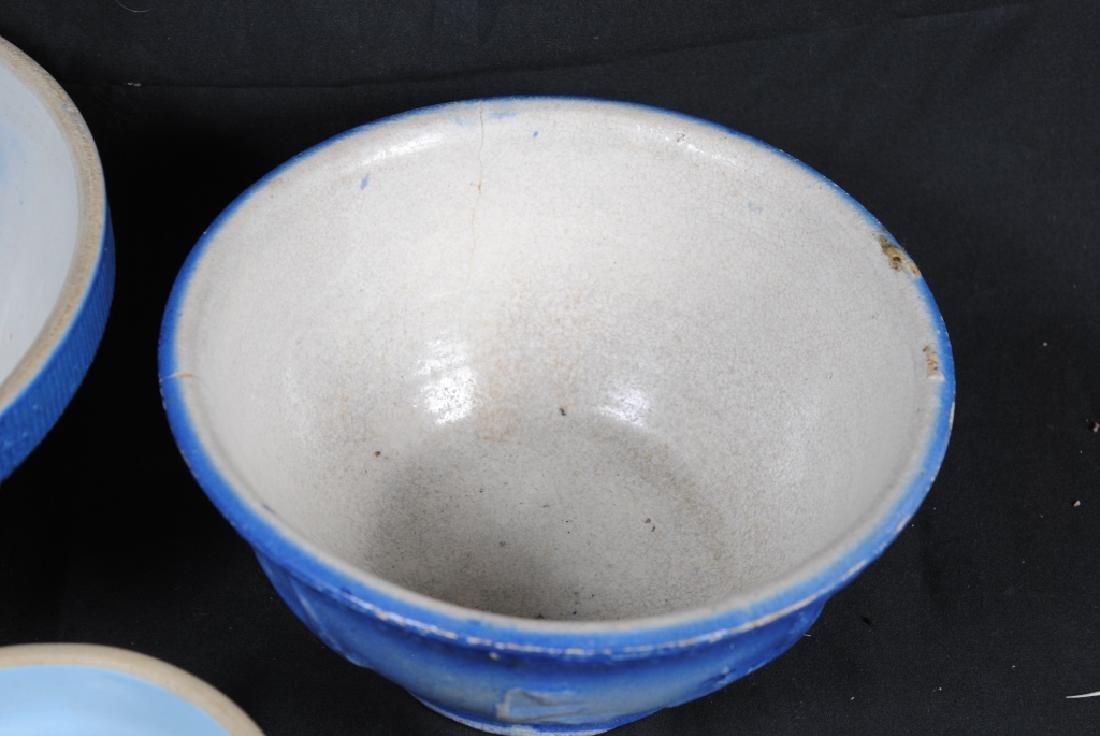 3 Salt Glazed Stoneware Mixing Bowls - 5
