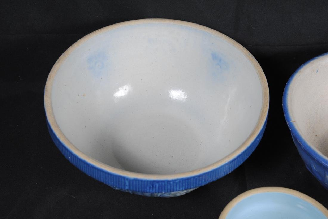 3 Salt Glazed Stoneware Mixing Bowls - 7