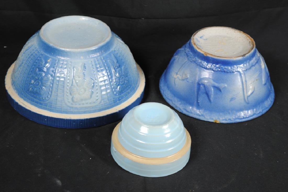 3 Salt Glazed Stoneware Mixing Bowls - 8