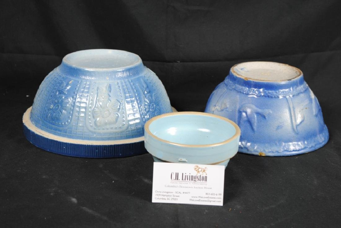 3 Salt Glazed Stoneware Mixing Bowls - 9
