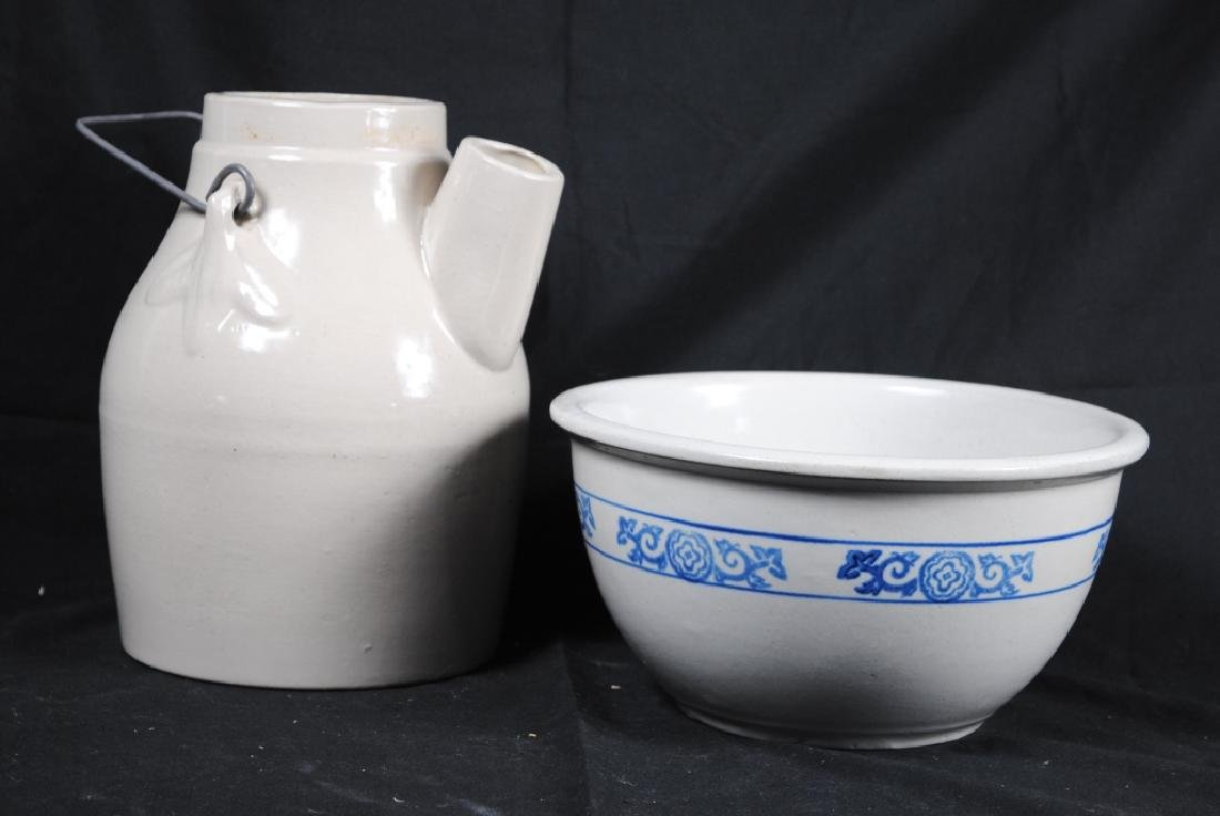 Stoneware Mixing Bowl and Batter Pitcher