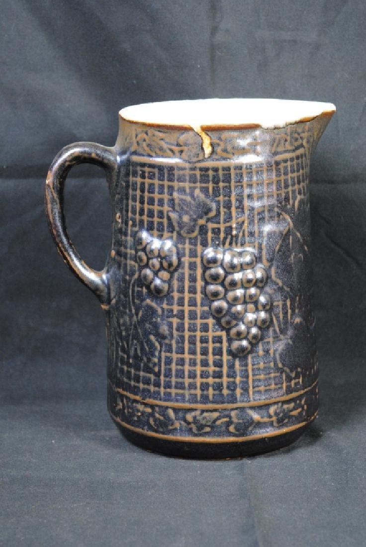 Stoneware Pitcher w/ Grape Motif