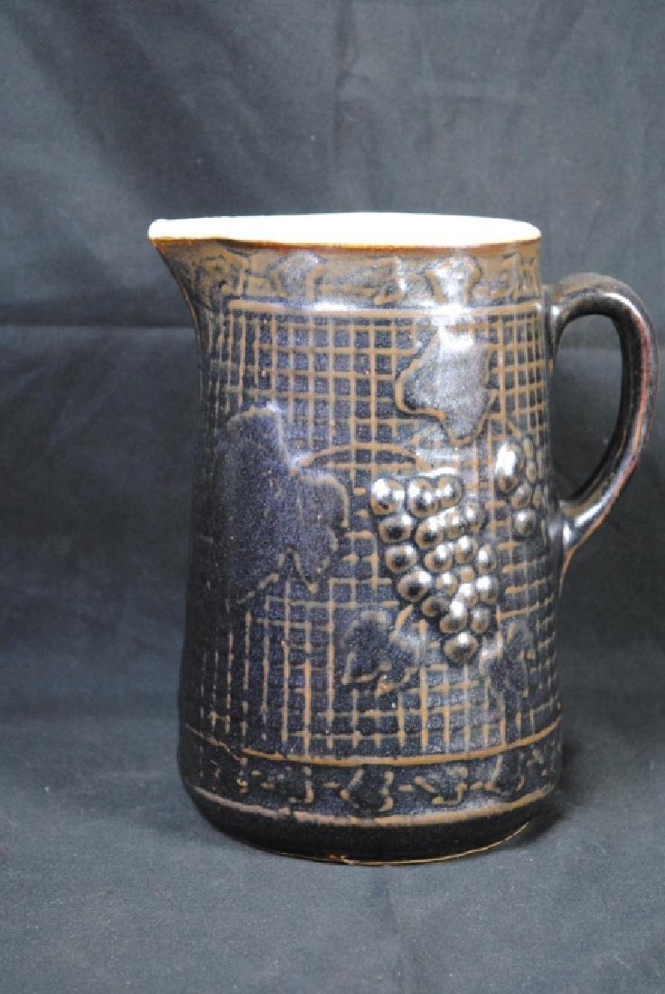 Stoneware Pitcher w/ Grape Motif - 3
