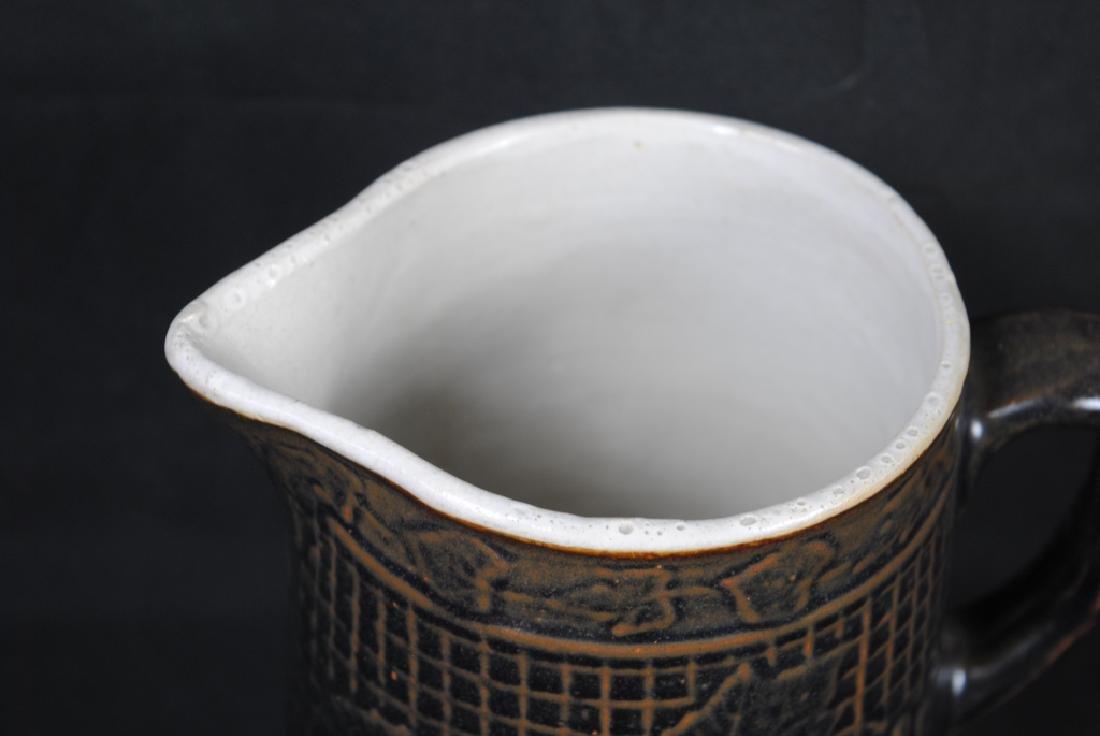 Stoneware Pitcher w/ Grape Motif - 4