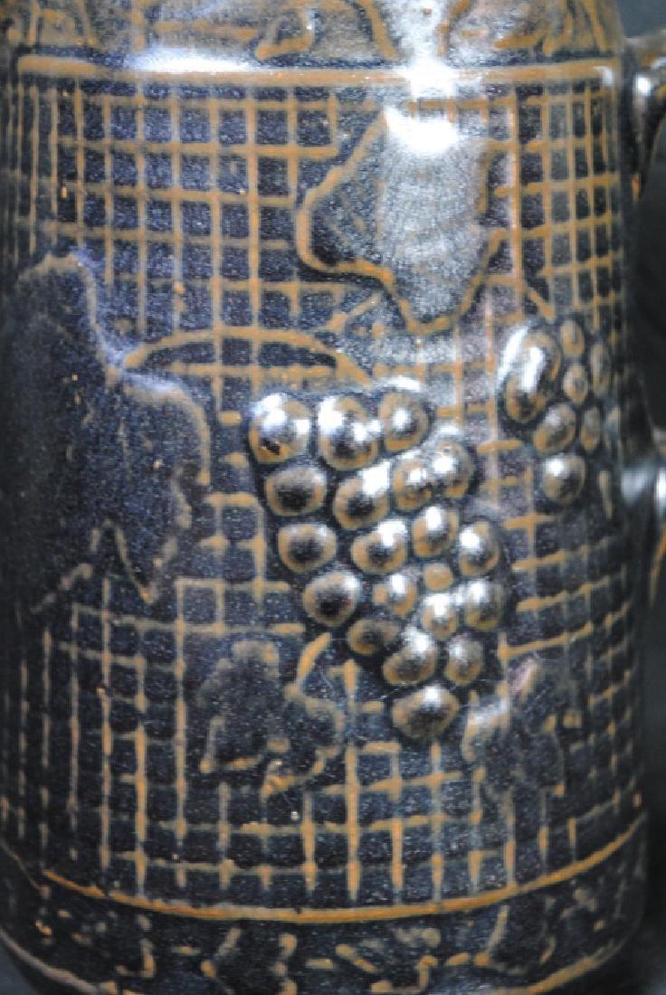 Stoneware Pitcher w/ Grape Motif - 5