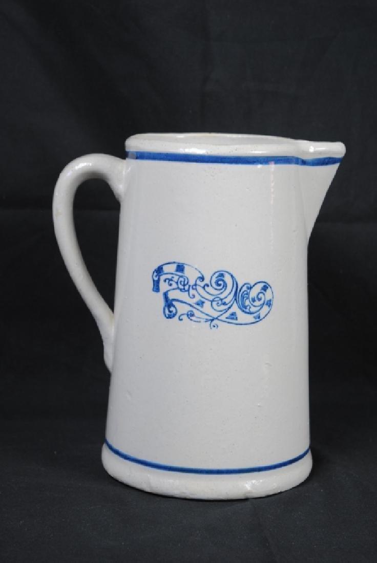 """""""Nautilus"""" Cobalt Decorated Stoneware Pitcher - 3"""