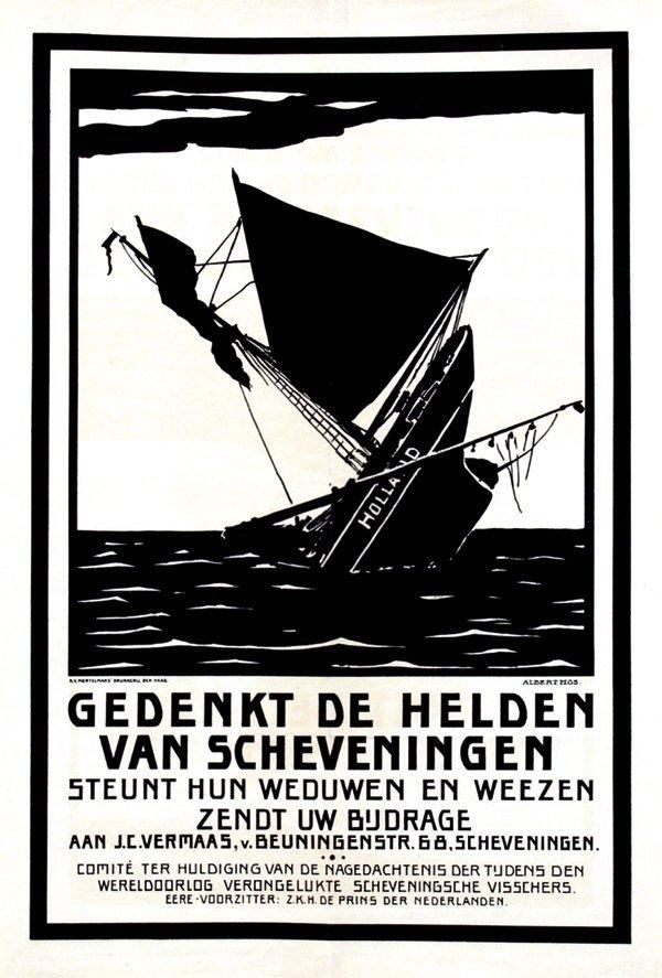 19: Poster by Albert Mos - Gedenkt de Helden van Scheve
